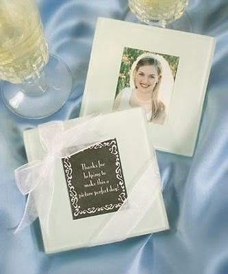 Set of 6 Glass Wedding & Party Photo Coasters Favours