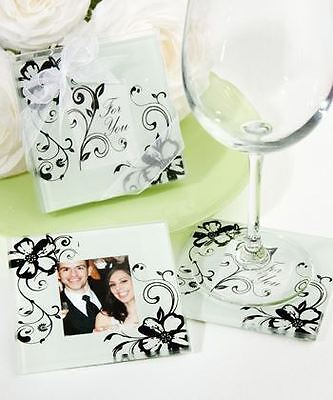 Set of 6 Floral Wedding & Party Supplies Bag Fillers Photo Coasters Favours