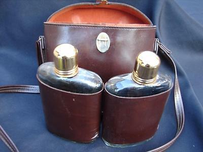 Vintage Swank  Binocular Case Flask Set Decanters