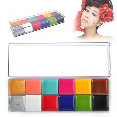 Professional Face Painting Paint 12 Colors Party Make Up Guide Rainbow Kit  Sets