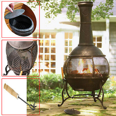 Large Cast Iron Bbq Chimenea Stove Pit Heater Patio Garden Camping Mesh Charcoal