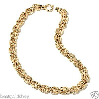 Technibond Textured Byzantine Chain Necklace 14K Yellow Gold Clad Silver