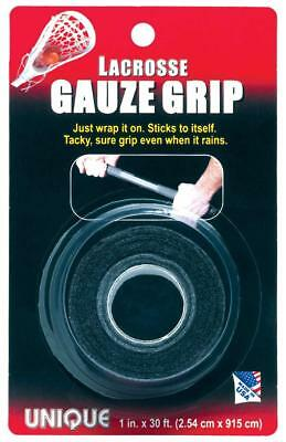 Unique Sports Lacrosse Tacky Gauze Grip Tape Black 30 Ft Long Roll Rough Surface