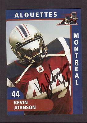 Montreal Alouettes # 44 Kevin Johnson Autographed Photo-Card !!
