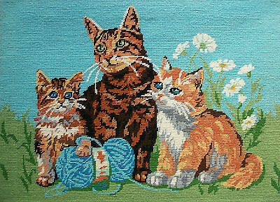 Vintage Needlepoint Tapestry - 'Les Chatons' - 'Kittens' - Canada - Mid 20th C.