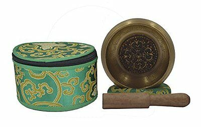 Meditation Tibetan Singing Bowl with Special Itching and protective pouch-GOLD