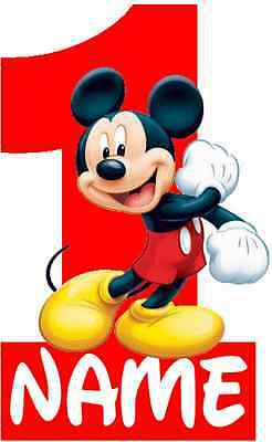 IRON ON TRANSFER - RED MICKEY MOUSE BIRTHDAY BOY - Size 16X10cm 1ST 2ND 3RD GIRL