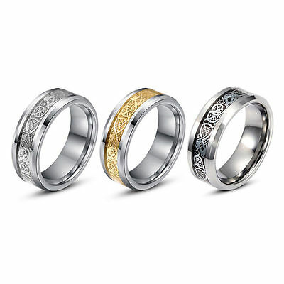 Gold Silver Dragon Stainless Steel Men Wedding Rings Cool Band Ring Size 5-13