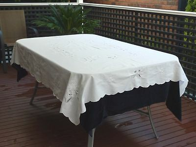 Beautiful Vintage Hand Crafted Battenburg Lace  & Embroidery Tablecloth 180 X 14