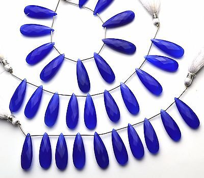 """Natural Gemstone Blue Chalcedony Faceted Long Pear Shape Briolettes 6"""" Strand"""