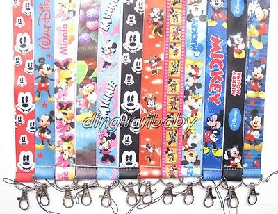Lot Mixed Mickey Minnie Mouse mobile Phone lanyard Keychain straps charms U-32