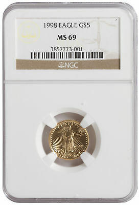 1998 - $5 1/10oz American Gold Eagle BU NGC MS69 Brown Label