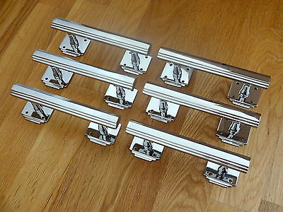 6 X Chrome Art Deco Door Or Drawer Pull Handles Cupboard Furniture  Knobs