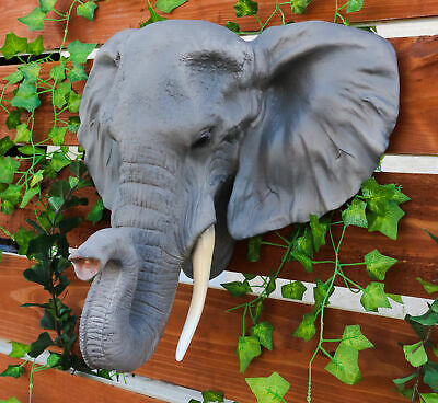 "Large 20"" Long Elephant Head Bust Hanging Wall Mount Home Decor Statue Figurine"