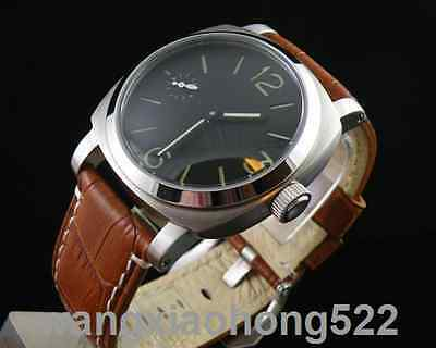 44mm Parnis Black Dial bow glass manual winding 6497 Menchanical Wristwatch 046