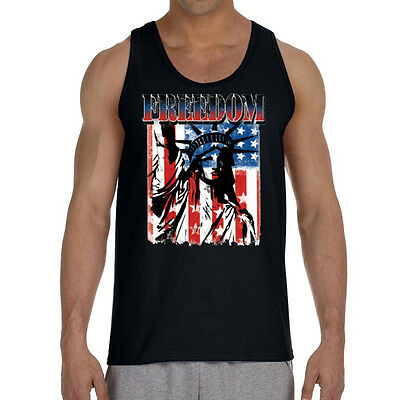 cbcea59a New American Freedom Black Tank Top Shirt united states US flag patriotic  pride