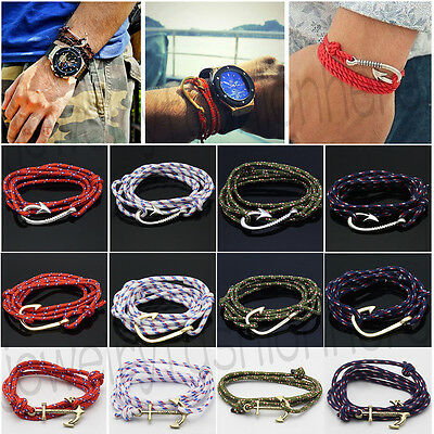Women Men Multilayer Leather Handmade Rope Wristband Anchor Bracelet Bangle NEW