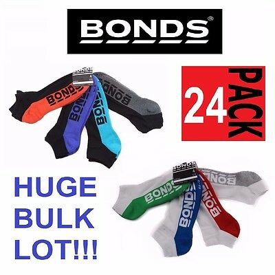 24 x MENS BONDS LOW CUT BLACK SPORTS ANKLE BLACK WHITE RUNNING CUSHIONED SOCKS