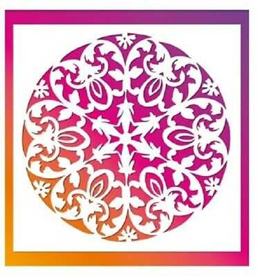 Flexible Stencil *LARGE ORNATE CIRCLE* Flower - Embossing, Masking - 21cm x 29cm