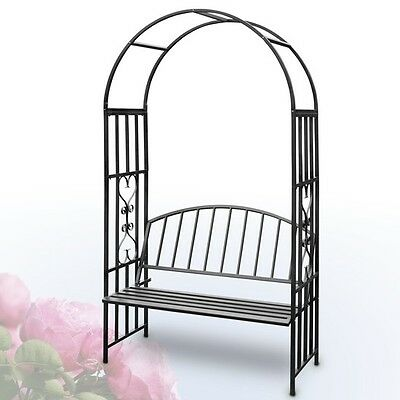 Garden Rose Arch with Bench Steel Decor Wedding Party Plant Climbing Pergola