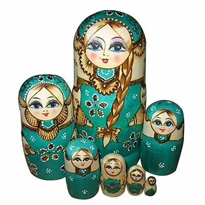 7X Wooden Russian Nesting Dolls Braid Girl Dolls Traditional Matryoshka PK