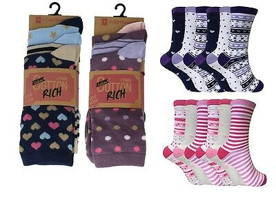Ladies Cute Girls Summer Various Design Socks Cotton Rich Size 4-6.5 Crew Length