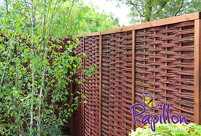 Framed Woven Willow Garden Fencing Panel Hurdle 6ft Screening Wooden Fence