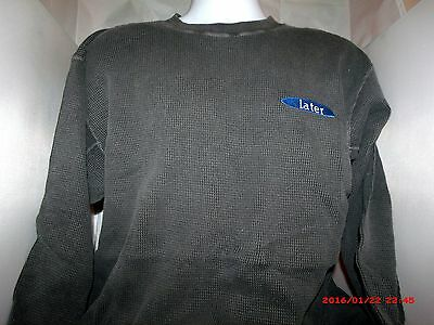 """Vintage BUT New! Greg Kinnear """"Later""""  X Large THERMAL Long Sleeve Shirt - GRAY"""