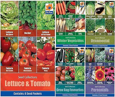 De Ree Flowers & Vegetables Seeds 6 in 1 Pack for Gardens & Outdoors