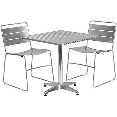Square Restaurant/Cafe/Bar Indoor/Outdoor Aluminum Table with 2 Metal Chairs