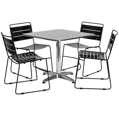 Square Restaurant/Cafe/Bar Indoor/Outdoor Aluminum Table with 4 Metal Chairs