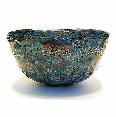 Incised & Glazed Studio Pottery Bowl - Hand Formed - Signed - Late 20th Century