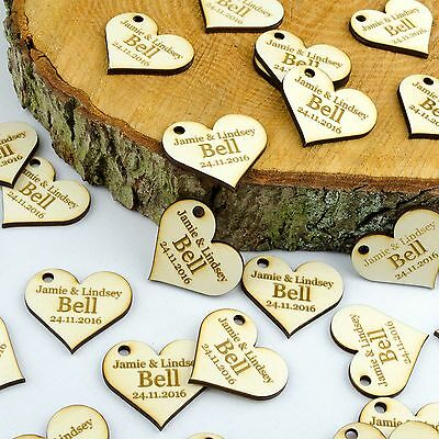 Personalised 4cm Wooden Love Heart Wedding Favours, Invites, Table Decorations.