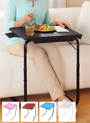 Portable & Foldable Comfortable Adjustable TV Tray Table - White, Black, Blue