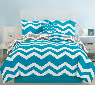 10 Piece Chevron Teal Bed in a Bag Set