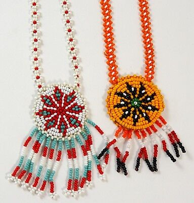 Lot of 2 Seed Bead Necklaces with Tassles Southwestern