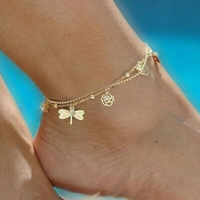 Charming Gold dragonfly Beads Chain Anklet Bracelet Barefoot Sandal Foot Jewelry