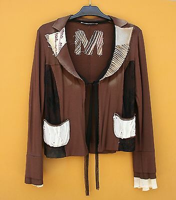 Pretty Brown Blazer With Patchwork And Lace, Size Eu 42, Us 12, Uk 14, It 44