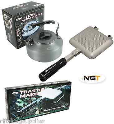 NGT Bankside Sandwich Toaster Camping Toastie Maker + Carp Fishing Kettle 1.1L