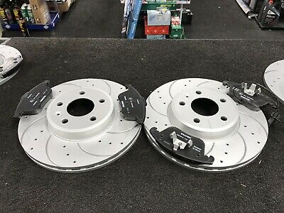 Audi A4 B8 2.0Tdi S Line Brake Disc Drilled Grooved Brake Pads Front 314 Mm