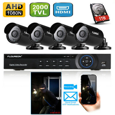 8CH CCTV 1080N DVR 2000TVL IR Video Cameras Home Security System with 1TB HDD