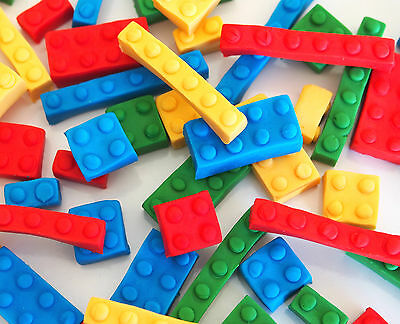 24 x Edible Lego building blocks CUPCAKE TOPPERS kids birthday cake decorations