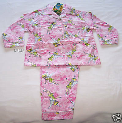 Tinkerbell Girls Pink Flannel Pyjama Set Size 4 New