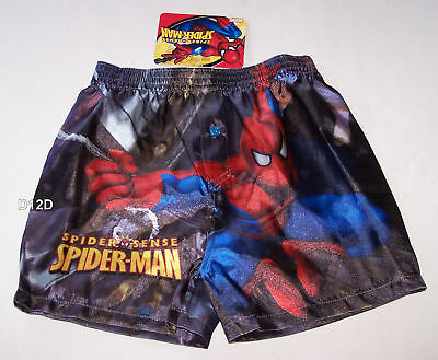 Spiderman Boys Printed Satin Boxer Shorts Size 4 - 6 New