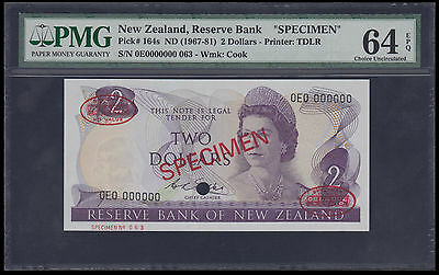 1967-81 New Zealand 2 Dollars Specimen Pmg 64