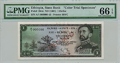 1961 State Bank Ethiopia $1 Color Trial Specimen PMG 66