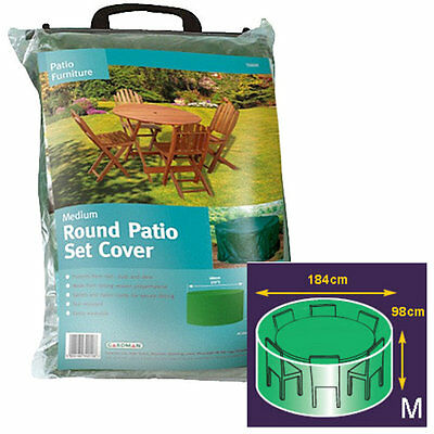 Gardman Waterproof Garden Furniture Patio Set Cover Round (Medium) 184cm x 98cm