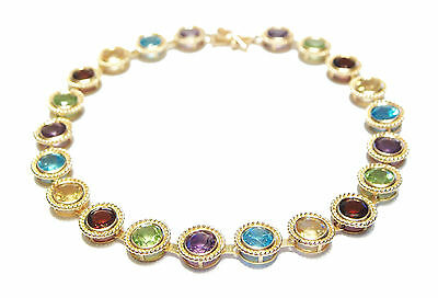 JOHN C. RINKER - 10K Yellow Gold & Colored Gemstone Bracelet - Late 20th Century