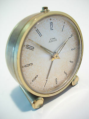 CYMA WATCH COMPANY - Vintage Alarm Clock - 11 Jewels - Swiss Made - Circa 1950's