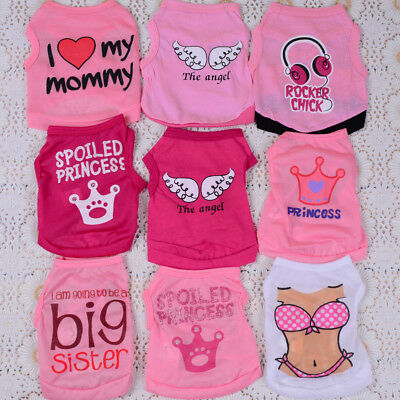 9PCS Lot Small Dog Clothing Shirt GIRL Pink Pet Puppy Dress Vest Summer XS S M L